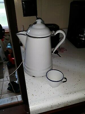 "Vintage White With Cobalt Blue Trim Enamelware  Coffee Pot, Hinged Lid 11"" & cup"