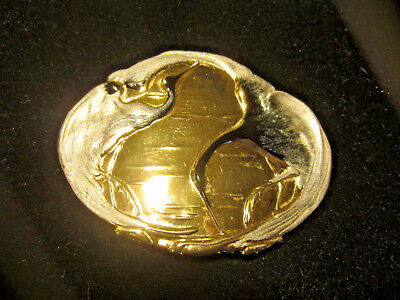 Vintage Charmant Of Beverly Hills Gold Tone Egrets Herons Belt Buckle Silver