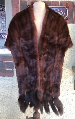 Vintage Elegant Winter Brown Lined Real Fur Stole Wrap Beautiful And Warm