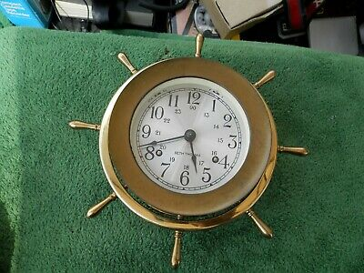 Vintage Brass Seth Thomas E537-001 Helmsman-W Ship Wheel Ships Clock Estate Find