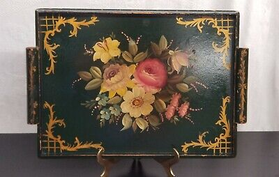Vintage Floral Tole Wooden Decorative Serving Tray Tea tray Shabby Distressed
