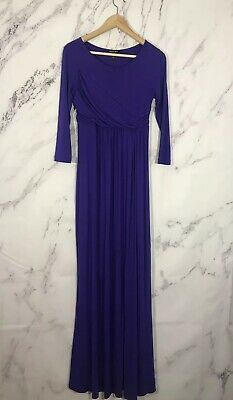 71be9774a2713 Isabella Oliver Womens 1 Small Hadyn Maternity Maxi Dress Purple 3/4 Sleeves