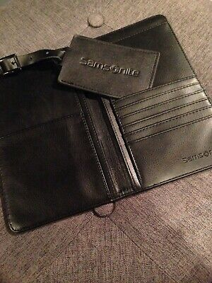 Samsonite Luggage Tag & Travel Wallet Set -- Black Vegan Leather