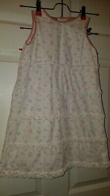 Laura Ashley Little Girls Floral Print And Ruffle Dress Size 5 Pink & White