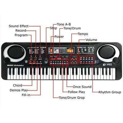61 Keys Digital Music Electronic Keyboard Piano toy for Child 2 or 3 pin UK plug