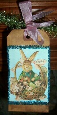 Primitive Easter Bunny Garland Glittered Vintage Images Hang Tags on Tinsel Swag