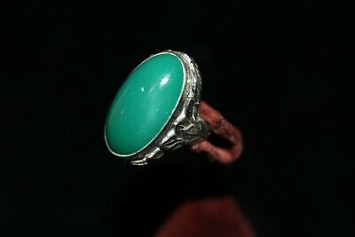 Antique Arts & Crafts Jade Cabochon Sterling Silver Leaf Detail Ring Rg2