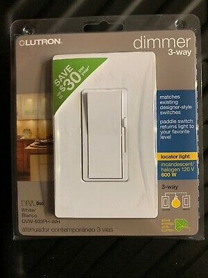 Lutron DVW-603PH-WH Diva 3 Way White Duo 600 W Dimmer - (CR) (1) New
