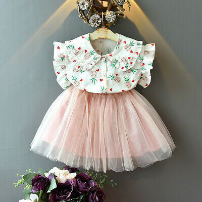 Kids Baby Girls Outfits Party Skirt Pineapple Printing T-shirt+Tutu Skirt 2-7 Y
