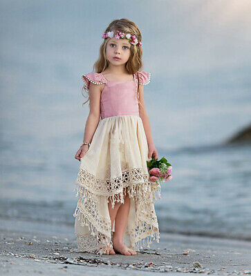 Kids Baby Girls Lace Party Dress Short Sleeve Solid Fringe Skirt Dresses Clothes