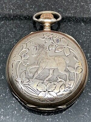 Vintage Swiss .800 Silver Hunting Hunter Pocket Watch - Rare Old Antique German