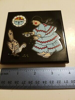 1991 CLEO TEISSEDRE HAND PAINTED TILE TRIVET Native Woman Roadrunner Sun