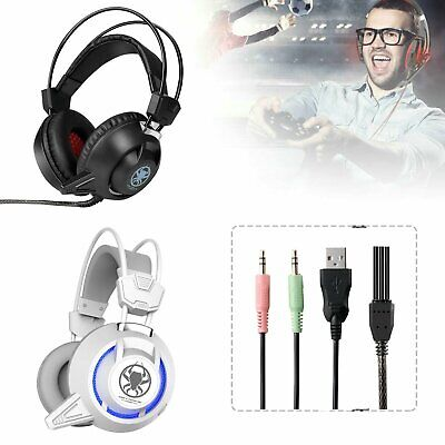 for PS4 Xbox Nintendo Switch PC Stereo 3.5mm Wired Gaming Headset USB LED