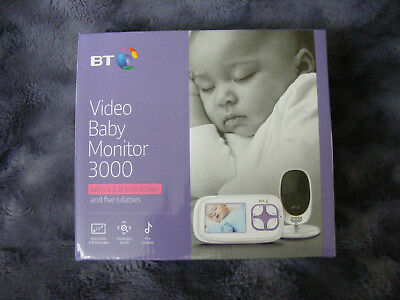 """New BT Video Baby Child Bedroom Monitor 3000 with 2.8"""" Screen & Five Lullabies"""