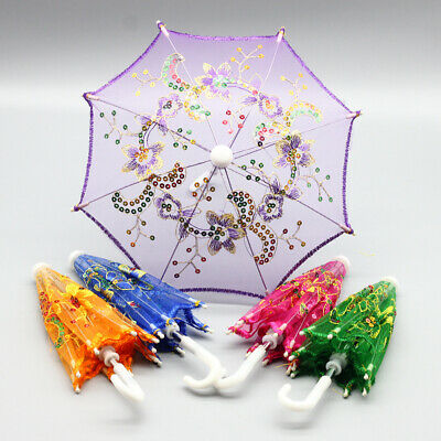 Bright Beads Embroidered Doll Umbrella Shiny for 16/18 Inch Doll House Decor Toy
