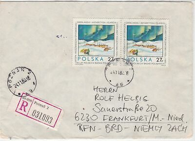Poland 1982 Polar Expedition Registered Ice Station Scene Stamps Cover ref 23147