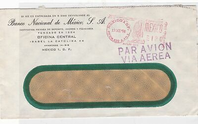 mexico 1958 meter mail stamps cover  ref 10116