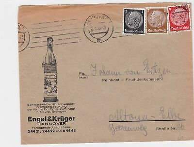 germany 1936  alcohol advertising  stamps cover ref 12949