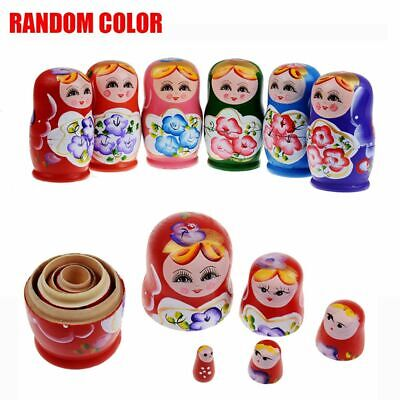 5Pcs Cute Babushka Nesting Dolls Matryoshka Wooden Russian Painted Doll