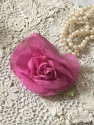 Fuchsia Hot Pink Vintage Millinery Rose Prom Corsage Dress Corsage Hat Pin