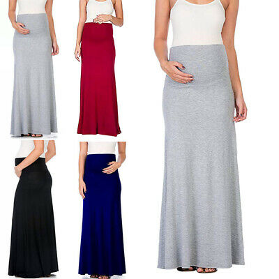 Women Pregnancy Long Comfy Maternity Skirt High Waist Solid Color Casual Skirt