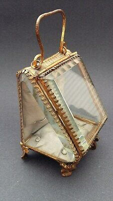 Beautiful 19th Century French brass and beveled glass miniature display case.