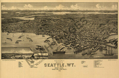 City of Seattle Washington Territory panoramic map c1884  24x16