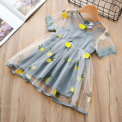 Kids Baby Girls Lemon Pineapple Embroidery Tulle Party Pageant Dress Light Blue