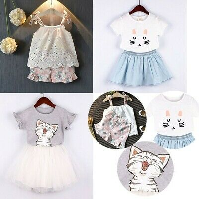 Kid Baby Girls Outfits Clothes Cute Cat Printed T-shirt+Denim Party Skirt 2Pcs