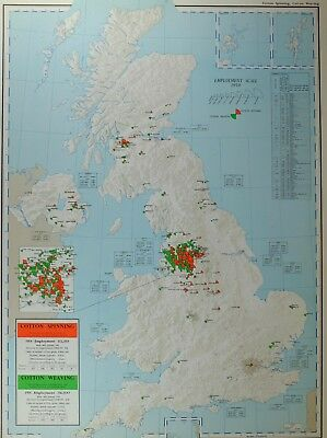 VINTAGE LARGE MAP of BRITAIN COTTON SPINNING WEAVING MANCHESTER EMPLOYMENT
