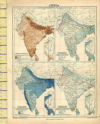 c1880 MAP ~ INDIA SHOWING DENSITY OF POPULATION RAINFALL & TEMPERATURE