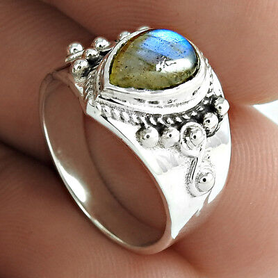 Labradorite Gemstone Ring Solid 925 Sterling Silver Vintage Jewellery US Size 5