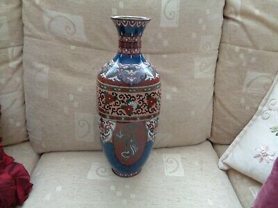 Fine large Collectable Antique Chinese Cloisonne Dragon Vase and flowers