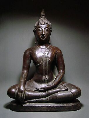 "ANTIQUE ""PURPLE BRONZE"" MEDITATING SUKHOTHAI BUDDHA, TEMPLE RELIC. 19/20th C"