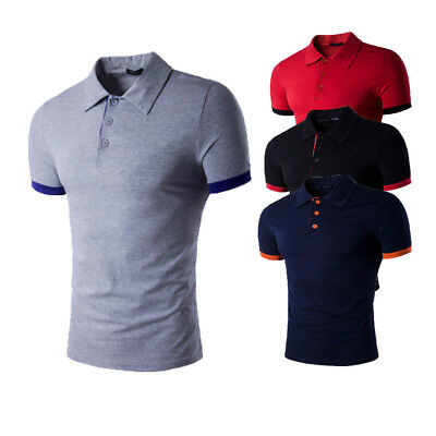 Fashion Men's Summer Slim Fit Short Sleeve Casual Solid Polo Shirts T-shirt Hot