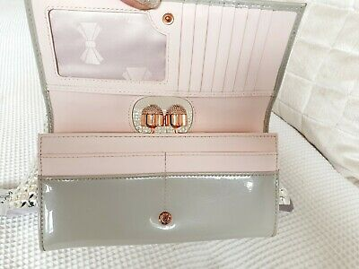 3c40df71268 Ted Baker SHIRLY Leather Patent bobble matinee purse Grey/Pink*