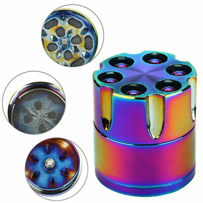 30mm Rainbow Stainless Steel Spice Herb Grinder Cylinder 4 Piece Tobacco Mill
