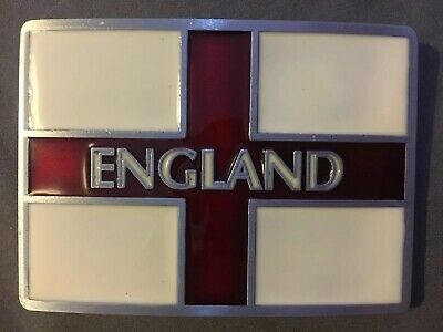 England Flag Belt Buckle St George's Cross Patriotic Metal Biker UK SELLER