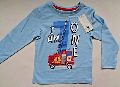 """Kids Fire Engine Long Sleeve T-shirt~ """"I am 1""""~ Ages 12-24 months~ 1st Birthday"""