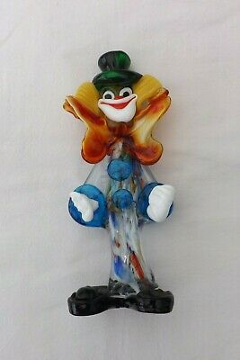 Vintage Murano Glass Clown Yellow/Orange Bow Green Hat 23Cms High