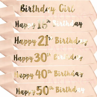 GLITTER BIRTHDAY GIRL Sash Satin For Women Happy Sweet 16Th
