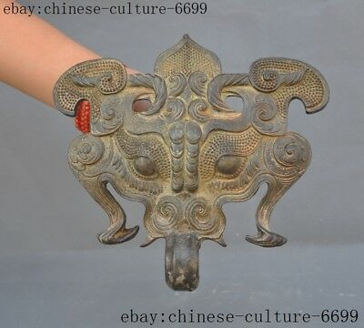 """8""""Rare old Chinese bronze dynasty ware beast face Vizard Mask Statue"""