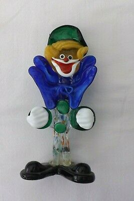 Vintage Murano Glass Clown Blue Bow Green Hat 22Cms High