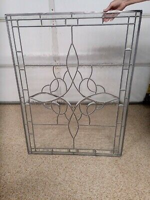 Frosted beveled leaded stained glass window