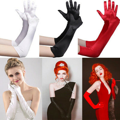 Womens Ladies Long Satin Gloves Opera Length Wedding Evening Formal Prom Costume