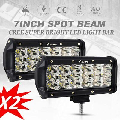 Pair 7 inch 360W Tri Row LED Work Light Bar SPOT Offroad Driving Lamp 4WD Truck