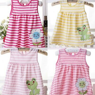 Wholesale Job Lot of 20 x NEW Cotton Summer Baby STRIPEY Dresses in 4 styles