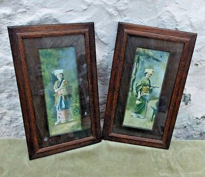 Japanese Prints 1901 Antique Pair in Wooden Frames Portrait Woman in Kimono