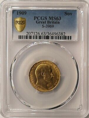 AWAY 1909 King Edward VII Full Gold Sovereign - PCGS MS63 London, Great Britain