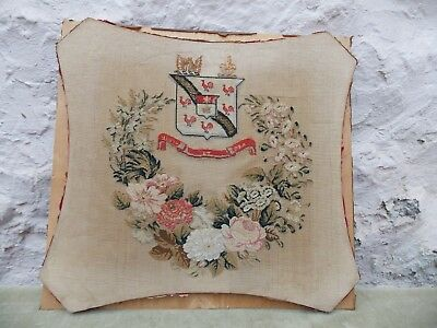Embroidered Family Crest Vigil Et Ora Mounted On Board Vintage Tapestry Heraldic